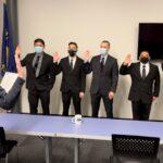 Welcoming new police officers: Introducing Officers Balderas, Klus, Kubota, Lee, and Sanders