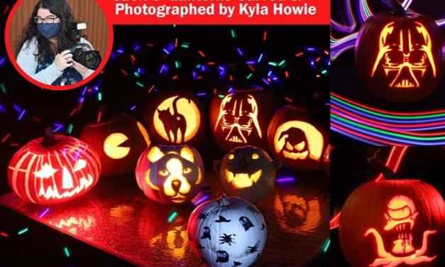 What's the best way to photograph my kid's Jack 'O Lanterns at night?